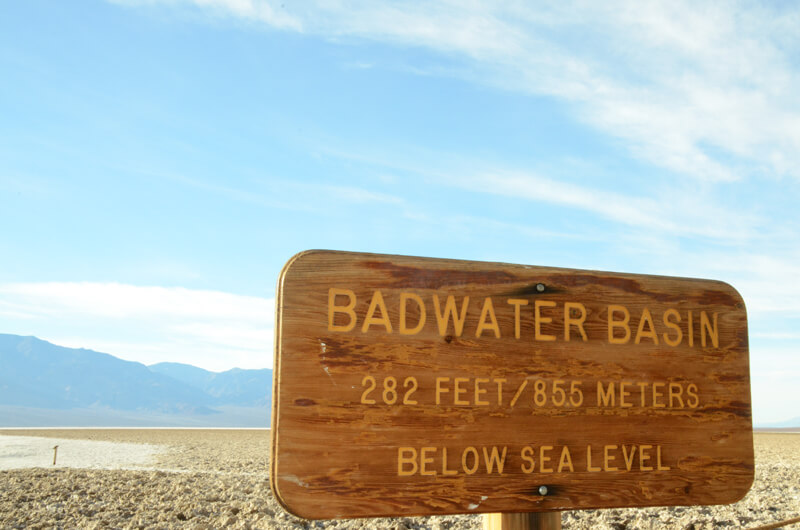 Badwater Basin Schild im Death Valley