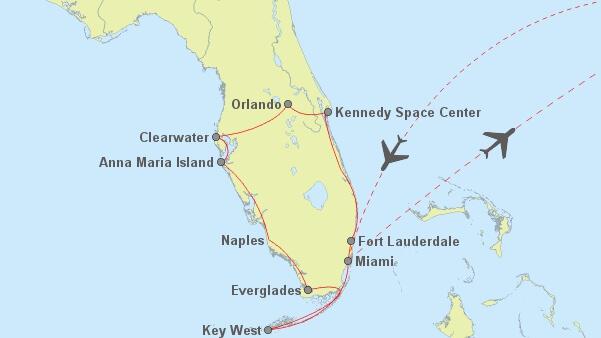 Routenvorschlag für einen Rundreise durch Florida