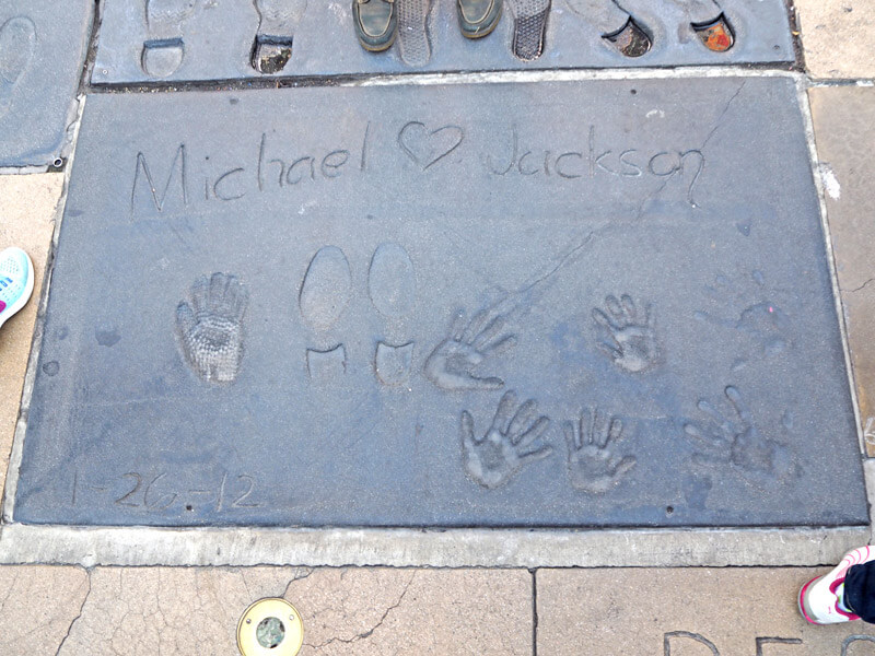 TCL Chinese Theatre Eingang Fußabdrücke Micheal Jackson