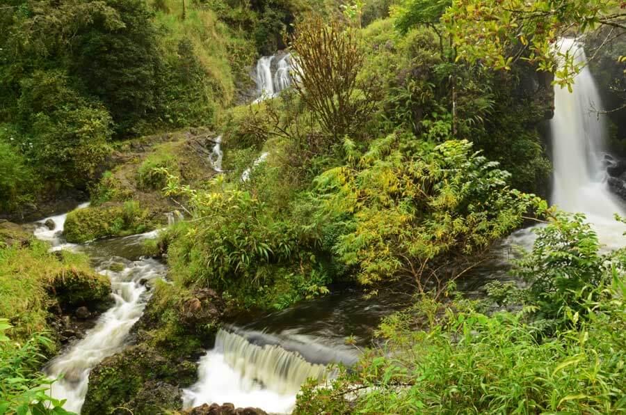 Wasserfälle nach Regen neben der Highway to Hana Straße