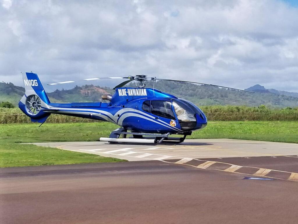 Hubschrauber Landung nach einem Na Pali Coast Rundflug