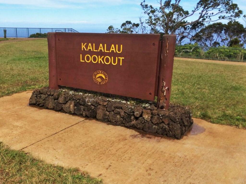 Schild bzw. Tafel vom Kalalau Lookout