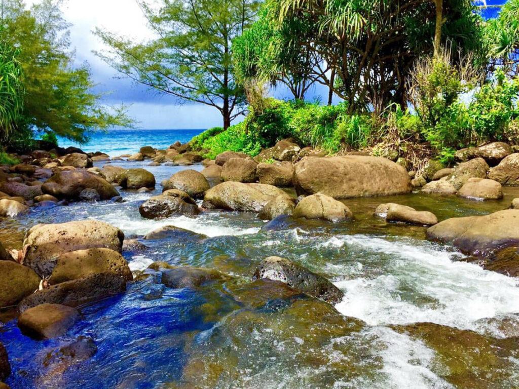 Bach fließt ins Meer am Rand des Kalalaut Trail auf Kauai