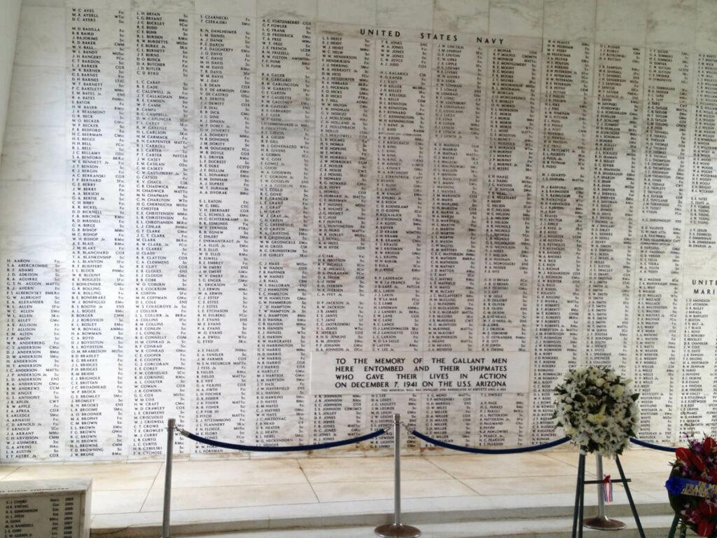 Namen der gefallenen Soldaten in Pearl Harbor