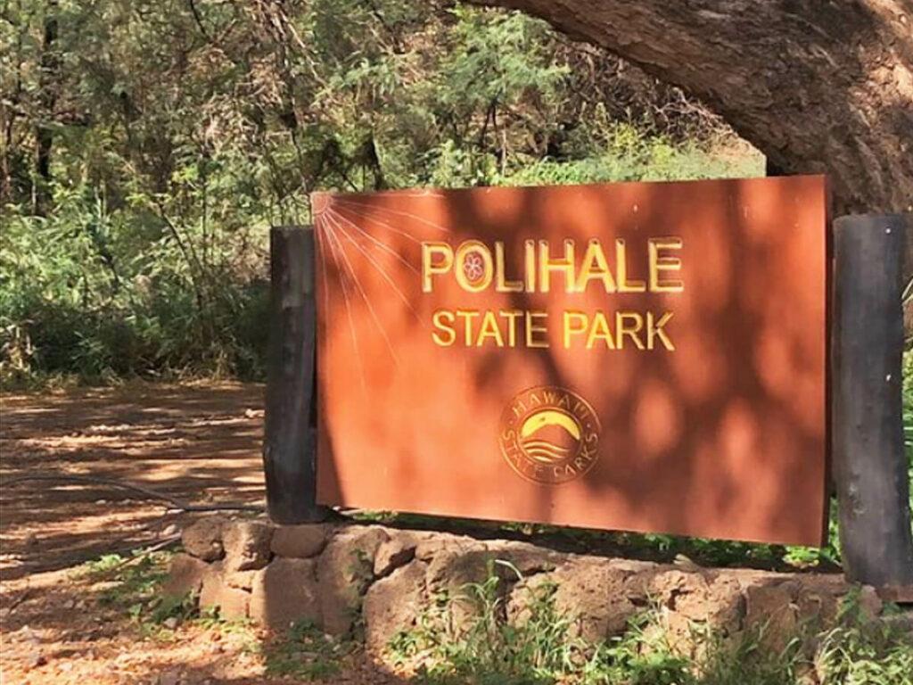 Polihale State Park Schild auf Kauai