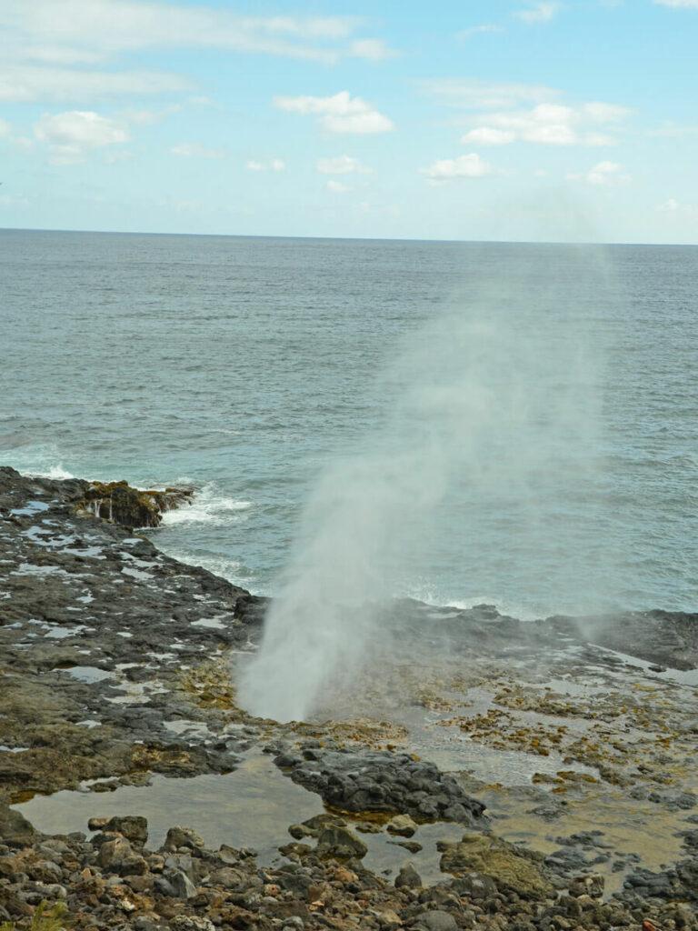 Ausströhmendes Wasser aus dem Spouting Horn