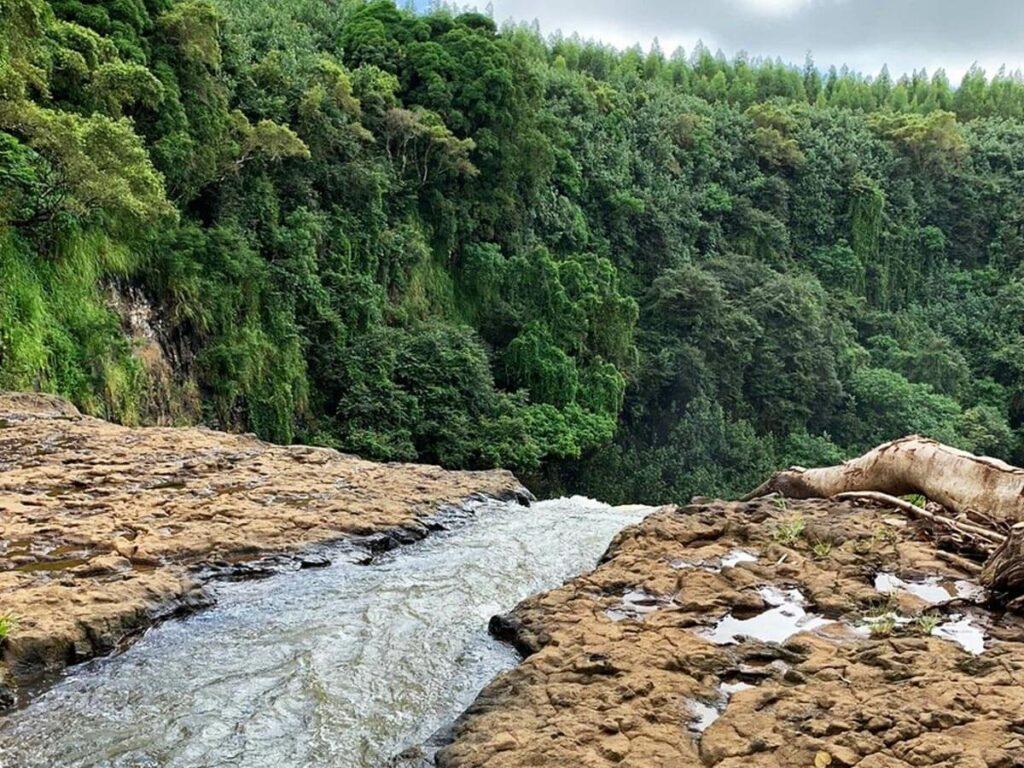 Blick von oberen Rand der Wailua Falls