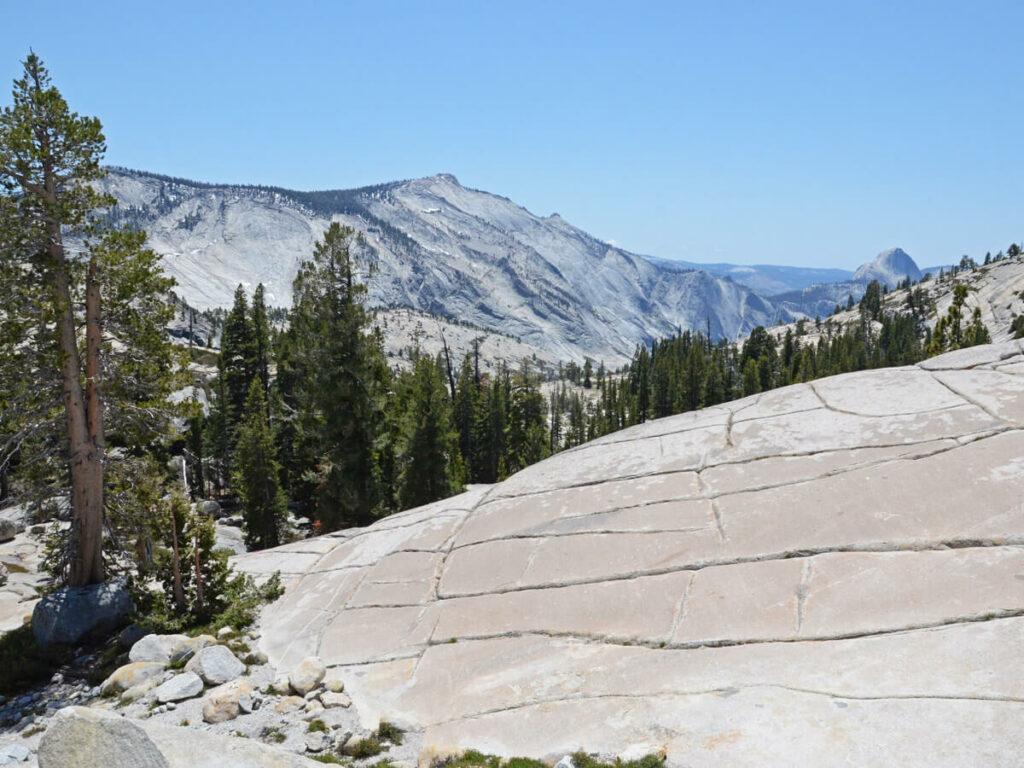 Blick auf den Half Dome vom Tioga Pass aus