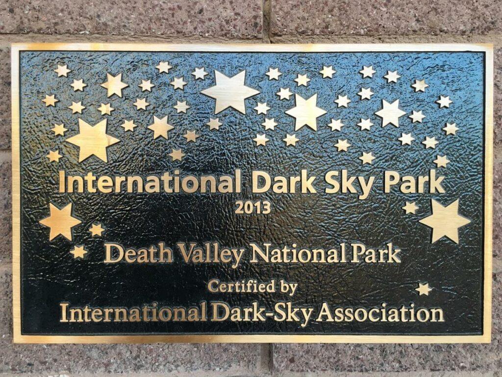 Dark Sky Park Death Valley Schild