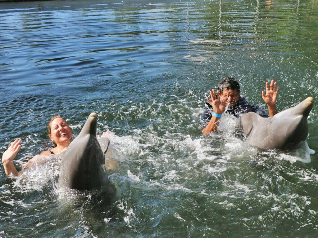 Ein Pärchen spielt mit zwei Delfinen