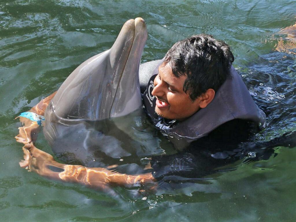 Mann umarmt einen Delfine beim schwimmen in Florida
