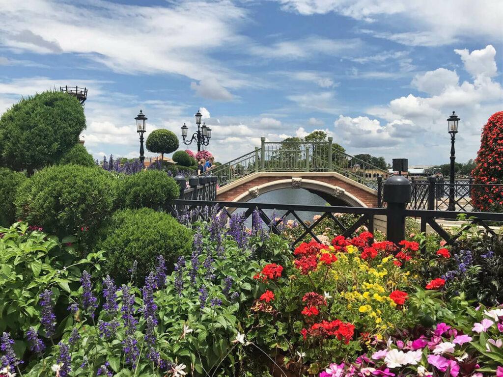 Pflanzen und eine Brücke im Epcot Center