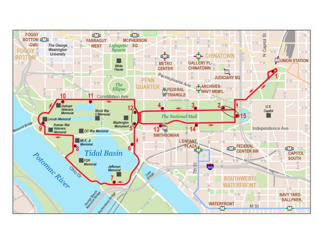 Busfahrplan der roten Touristischen Linie in Washington
