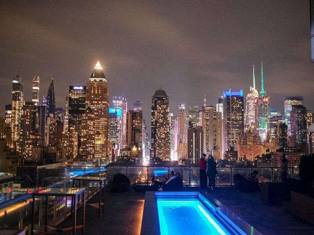Skyline von New York von der Press Lounge