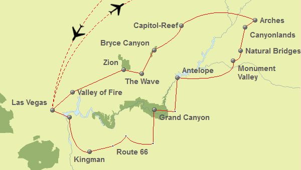 Canyon Rundreise Routenvorschlag