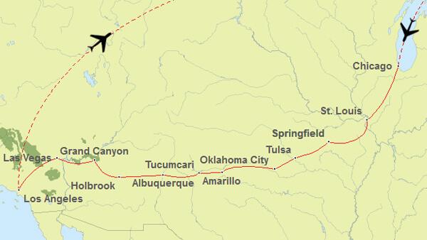 Routenvorschlag für eine Route 66 Tour