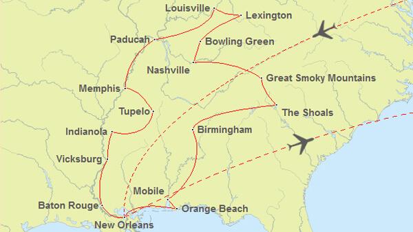 Routenvorschlag Südstaaten Reise ab New Orleans