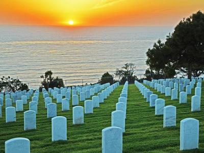 Soldatenfriedhof in San Diego beim Sonnenuntergang
