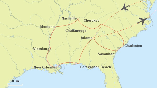 Südstaaten Rundreise Routenvorschlag